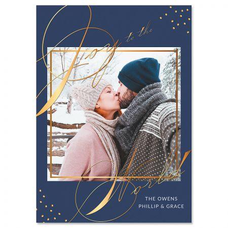 Blue Joy Photo Christmas Cards