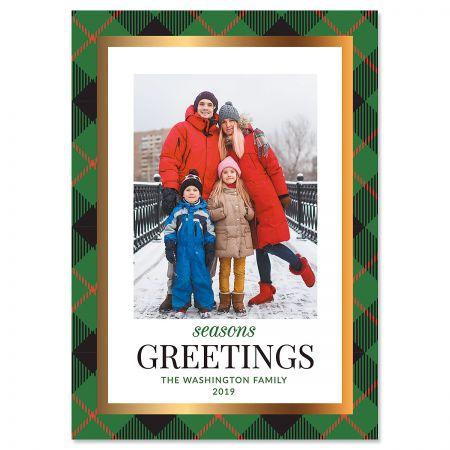 Green Buffalo Check Photo Christmas Cards