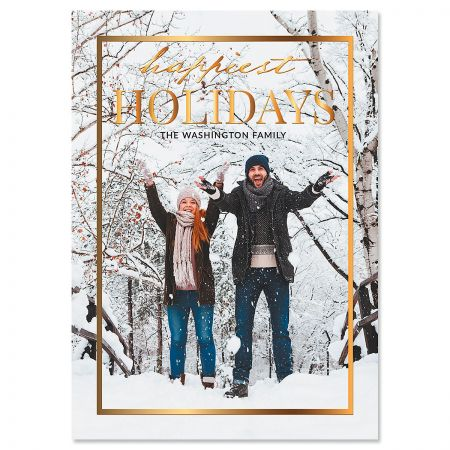 Gold Frame Vertical Photo Christmas Cards