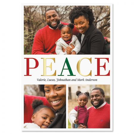 Peace Vertical Photo Christmas Cards