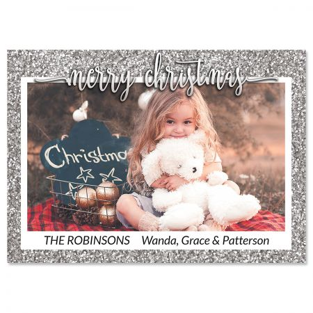 Silver Glitter Photo Christmas Cards