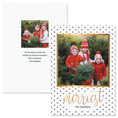 Personalized Christmas Cards.Black Snowflakes Photo Christmas Cards