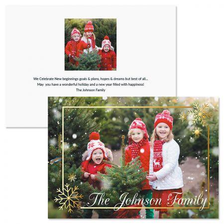 Golden Snowflake Horizontal Personalized Photo Christmas Cards
