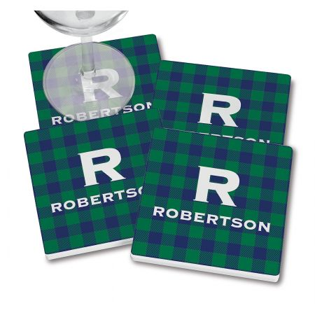 Blue-Green Buffalo Plaid Coasters with wine glass