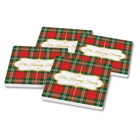 Green-Red Tartan Plaid Coasters