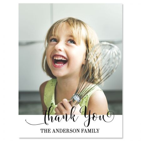 Vertical Cheerful Thank You Photo Note Cards