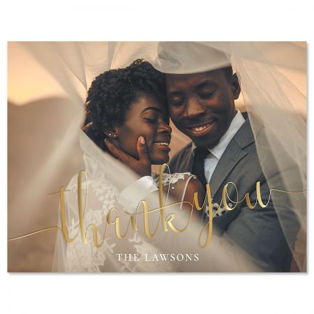 Horizontal Golden Photo Note Cards