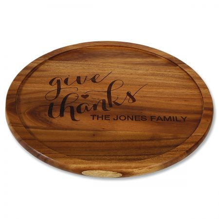 Give Thanks Personalized Acacia Wood Lazy Susan