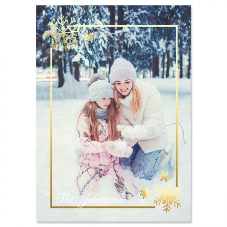 Golden Snowflake Vertical Photo Christmas Cards
