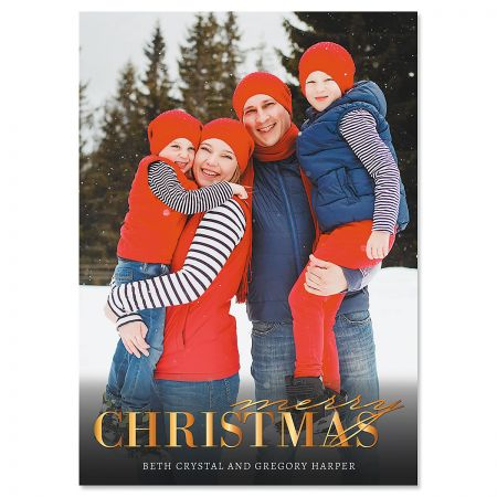 Personalized Christmas Cards.Gold Merry Photo Christmas Cards