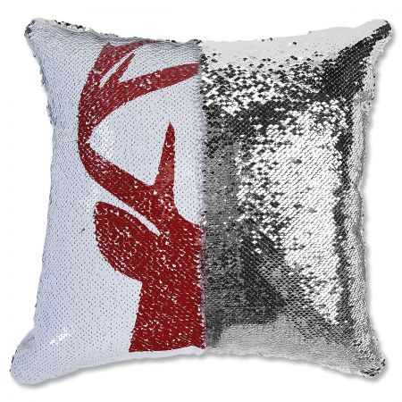 Sequined Holiday Reindeer Pillow half
