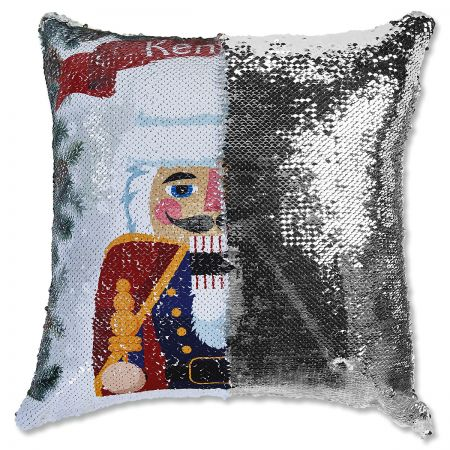Sequined Holiday Nutcracker Personalized Pillow half