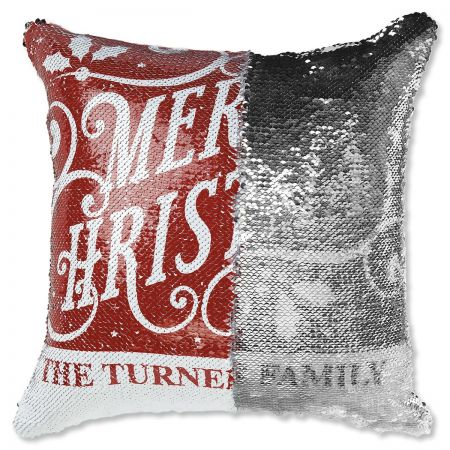 "Sequined ""Merry Christmas"" Personalized Pillow turn"