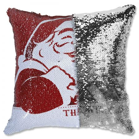 Sequined Santa's Face Personalized Pillow half
