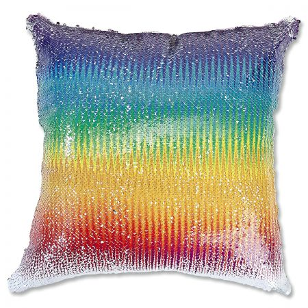 Sequined Rainbow Pillow