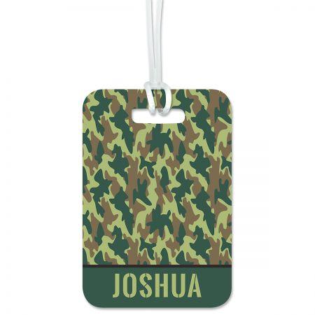 Green Camo Luggage Tag