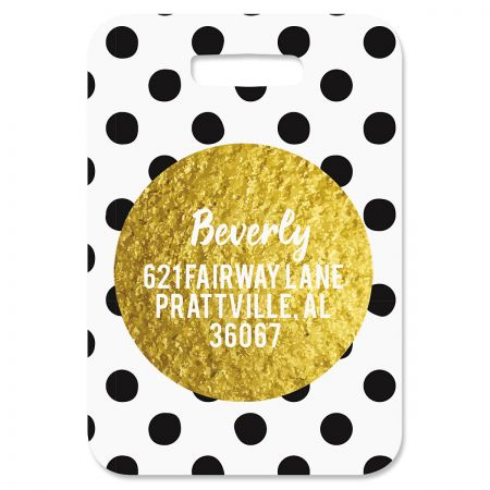 Polka Gold Luggage Tag