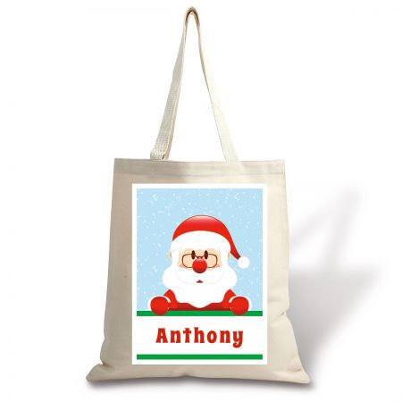 Personalized Santa Holiday Canvas Tote