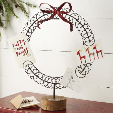 Personalized Metal Wreath Card Holder