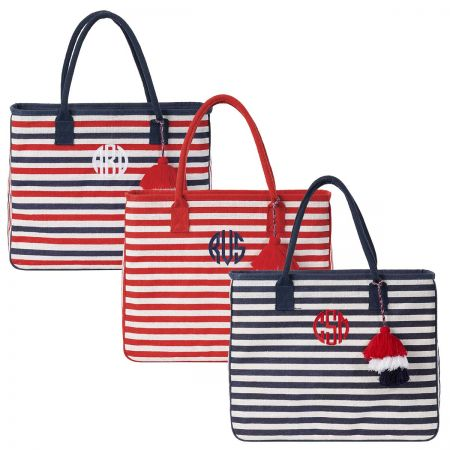 Personalized Let Your Stripes Shine Jute Totes