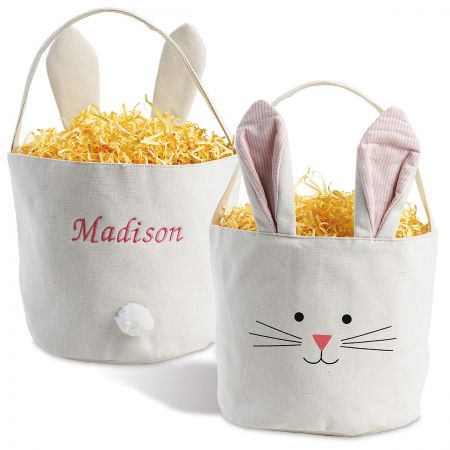 Pink Personalized Bunny Ears Basket