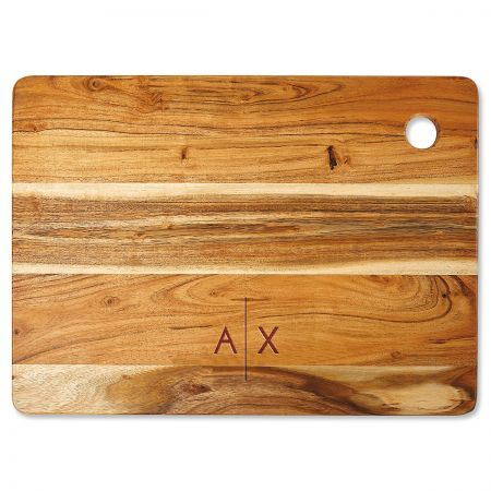 Acacia Divided Initials Personalized Large Cutting Board