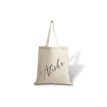 Diagonal Name Personalized Canvas Tote Bag