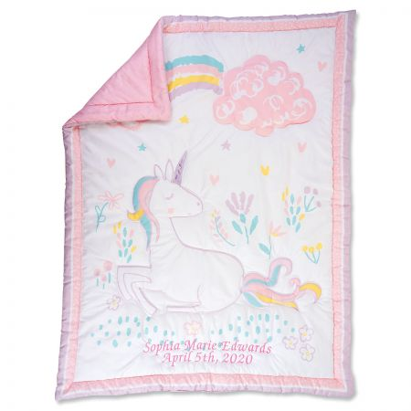 Personalized Sweet Unicorn Quilt  with Plush