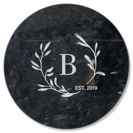 Circle Laurel Monogrammed Black Marble Lazy Susan