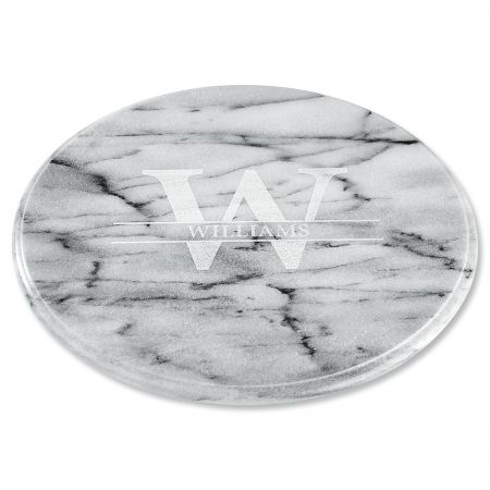 White Marble Lazy Susan - Initial Last Name