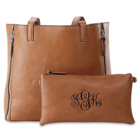 Personalized Camel Carry-All Nora Tote Bag with Matching Crossbody Purse