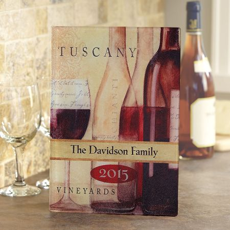 Wine Décor Personalized Glass Cutting Board