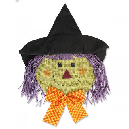 Hanging Halloween Burlap Witch Face