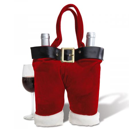 Santa Pants Double Wine Bottle Holder