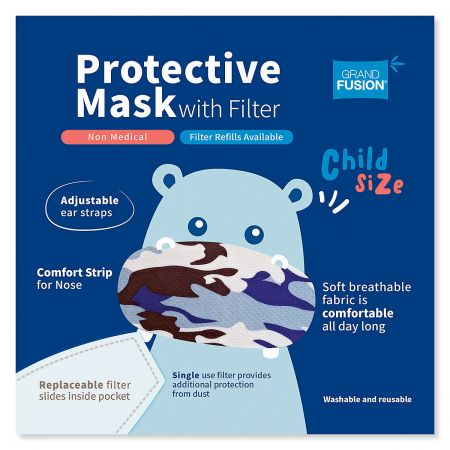 Blue Kids Camouflage Reusable Face Mask & Replacement Filters