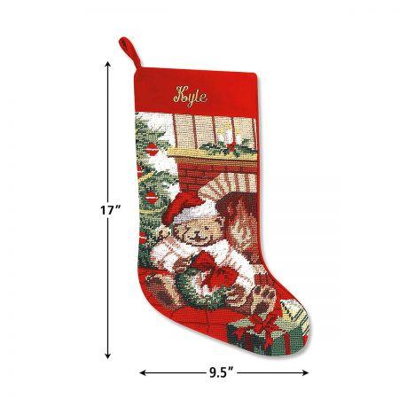 Needlepoint Christmas Stockings.Teddy Bear Heirloom Needlepoint Christmas Stocking
