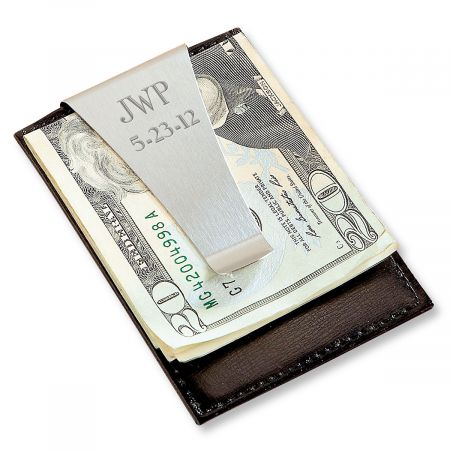 Leather Personalized Money Clip and Card Holder