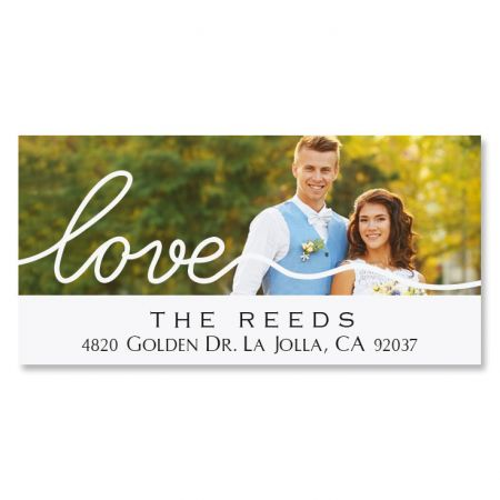 Love Deluxe Personalized Photo Address Label White
