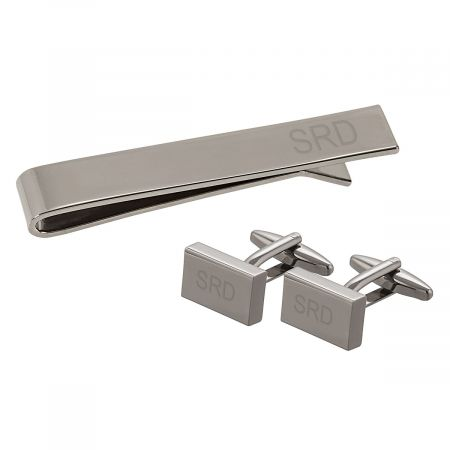 Personalized Gunmetal Rectangle Cuff Link and Tie Clip Set