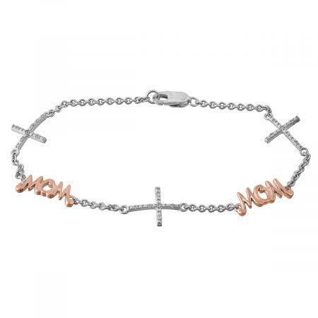 Mom Diamond Cross Station Bracelet