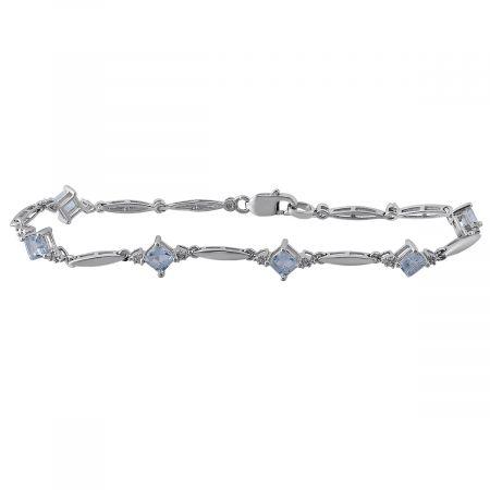 Diamond and Square Birthstone Bracelet