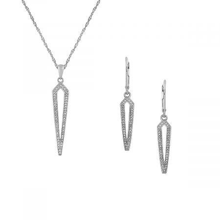 "Diamond Geo Pendant with 18"" Chain & Drop Earrings"