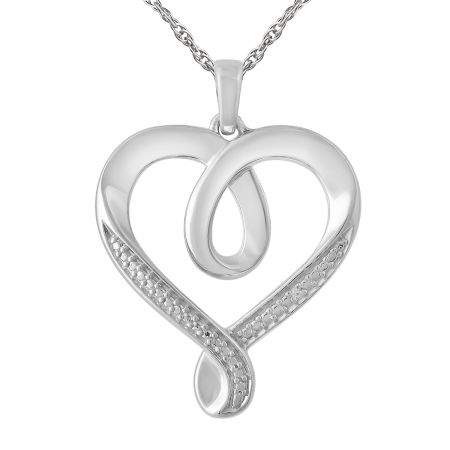 "Diamond Accent Heart Pendant with 18"" Chain"