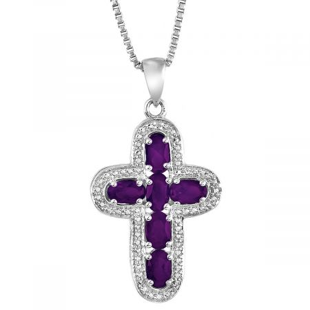 """Diamond and Oval Birthstone Pendant with 18"""" Chain"""