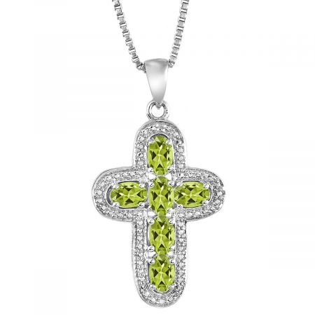 """Diamond and Oval Birthstone Pendant with 18"""" Chain - August"""