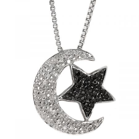 "Black and White Diamond Accent Moon/Star Pendant with 18"" Chain"