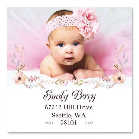 Floral Large Square Personalized Photo Address Label
