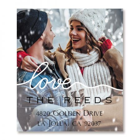 Love White Caption Select Personalized Photo Address Label