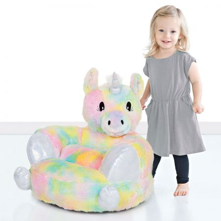 Incredible Childrens Rainbow Unicorn Plush Character Chair Beatyapartments Chair Design Images Beatyapartmentscom