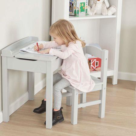Gray Wooden Lift-Top Desk & Chair by Melissa & Doug